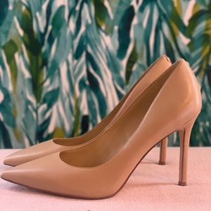 Sam Edelman nude pointy leather pumps